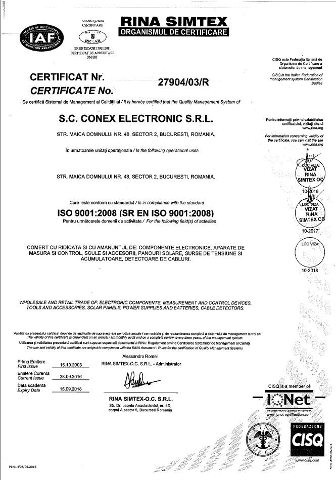 Certificat ISO 9001:2008 Conex Electronic